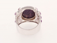 Sterling Silver Charoite & Amethst Band Ring-SZ 10 at PristineAuction.com