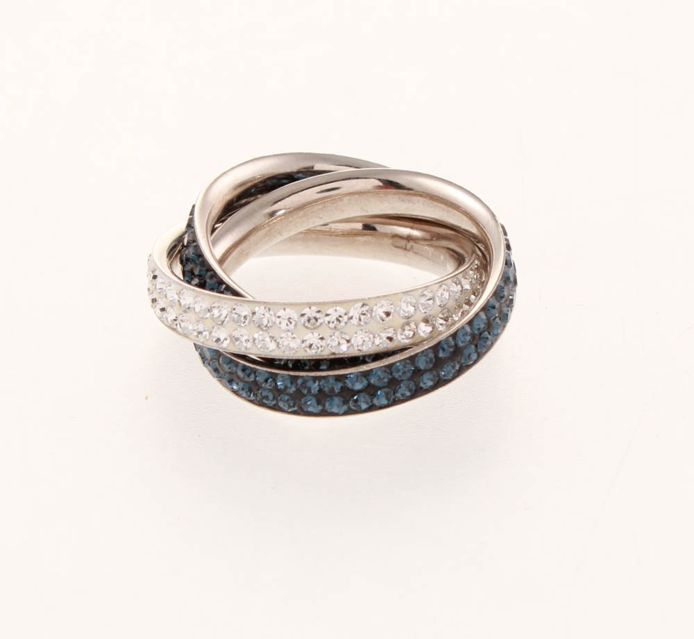 Sterling Silver Rolling Ring Made w/ Swarovski® Elements at PristineAuction.com