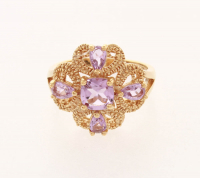 18K gold over Silver Amethyst Beaded Ring-SZ 7 at PristineAuction.com