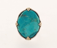 Sterling Silver/14k Gold Plate Turquoise Ring-SZ 6 at PristineAuction.com