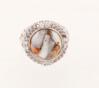 Silver Spiney Oyster & Topaz Textured Ring-SZ 7 at PristineAuction.com