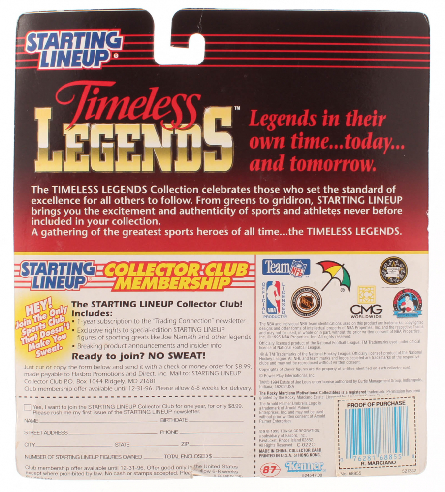 Starting Lineup 1995 Timeless Legends Series Kenner//Tonka Corporation 68855 Rocky Marciano Action Figure