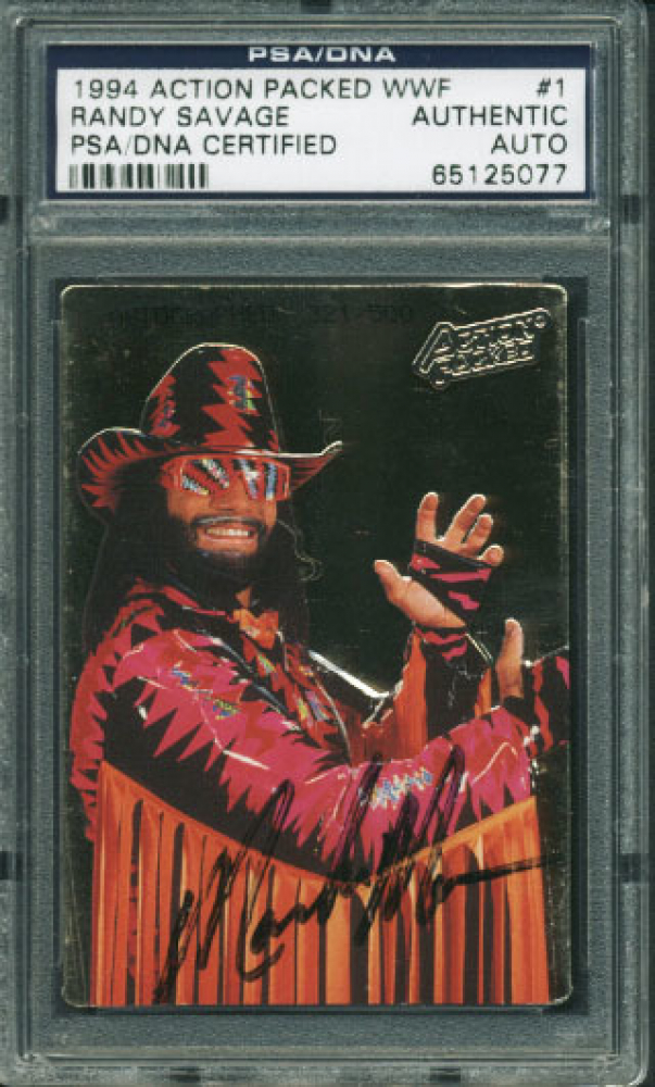 """""""Macho Man"""" Randy Savage Signed 1994 Action Packed WWF #1 (PSA Encapsulated) at PristineAuction.com"""