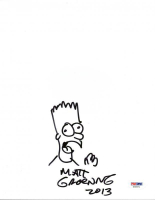 "Matt Groening Signed ""The Simpsons"" 8x10 Original Hand-Drawn Bart Simpson Sketch Inscribed ""2013"" (PSA COA) at PristineAuction.com"