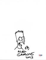 "Matt Groening Signed ""The Simpsons"" 8x10 Original Hand-Drawn Bart Simpson Sketch Inscribed ""2013"" (PSA COA) at PristineAuction.com"