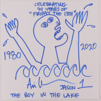 """Ari Lehman Signed """"Friday the 13th"""" Original Hand-Drawn 12x12 Sketch on Paper with Multiple Inscriptions (PA COA) at PristineAuction.com"""