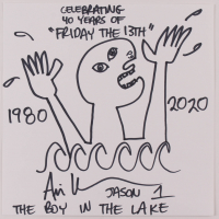 "Ari Lehman Signed ""Friday the 13th"" Original Hand-Drawn 12x12 Sketch on Paper with Multiple Inscriptions (PA COA) at PristineAuction.com"