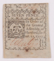 1777 Seven Pence Connecticut Colonial Currency Note at PristineAuction.com