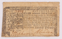 1770 $1/2 Half Dollar Maryland Colonial Currency Note at PristineAuction.com