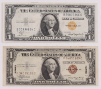 Lot of (2) 1935-A WWII Emergency Note $1 One Dollar Silver Certificates with (1) Hawaii & (1) North Africa at PristineAuction.com