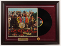 """The Beatles """"Lonely Hearts"""" 18.5x24.5 Custom Framed Vinyl Record Album Display with Vintage Sgt. Peppers Album Pin at PristineAuction.com"""