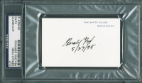 Gerald Ford Signed 2.5x4 Cut with Date Inscription (PSA Encapsulated) at PristineAuction.com