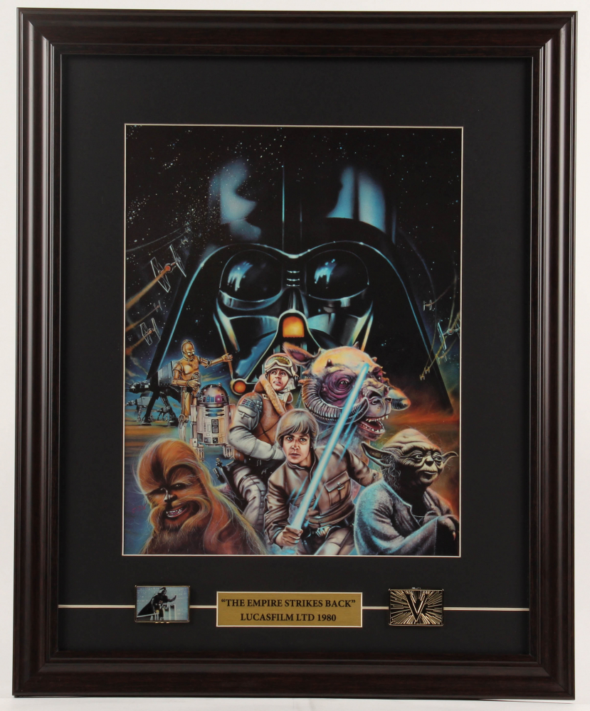 """""""Star Wars: The Empire Strikes Back"""" 17.5x21.5 Custom Framed Print Display with (2) Pins at PristineAuction.com"""