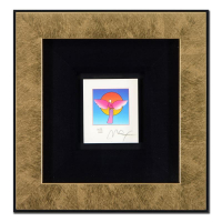 "Peter Max Signed ""Angel with Sun"" Limited Edition 10x11 Custom Framed Lithograph #452/500 at PristineAuction.com"