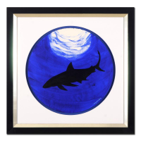 "Wyland Signed ""Shark"" 29x29 Custom Framed Original Watercolor Painting at PristineAuction.com"