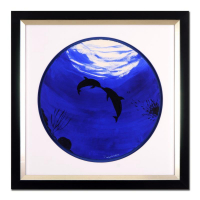 "Wyland Signed ""Two Dolphins"" 29x29 Custom Framed Original Watercolor Painting at PristineAuction.com"