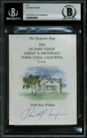 Richard Nixon Signed 3.5x4.75 Presidential Library Flyer Cut (BGS Encapsulated) at PristineAuction.com