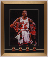 Michael Jordan Bulls 17x20.5 Custom Framed Art Print Display with (4) Championship Pins at PristineAuction.com