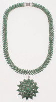 Sterling Silver Ladies Emerald Drop Necklace (GAL Appraisal) at PristineAuction.com