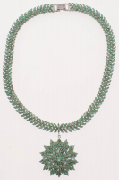 40ct Sterling Silver Ladies Emerald Drop Necklace (GAL Appraisal) at PristineAuction.com