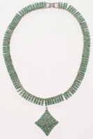 55ct Sterling Silver Ladies Emerald Drop Necklace (GAL Appraisal) at PristineAuction.com