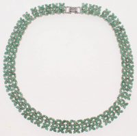 50ct Sterling Silver Ladies Emerald Necklace (GAL Appraisal) at PristineAuction.com