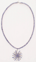 35ct Sterling Silver Ladies Tanzanite & Cubic Zirconia Drop Necklace (GAL Appraisal) at PristineAuction.com