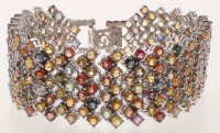 30ct Silver Multi-Color Ladies Sapphire & Ruby Bracelet (GAL Appraisal) at PristineAuction.com