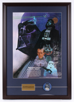 Vintage 1977 Coca Cola Star Wars 24.5x34.5 Custom Framed Poster Display with Original 1977 Darth Vader Pin at PristineAuction.com