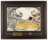 "LeRoy Neiman ""Sandy Koufax Strikes Out 15"" 20x24.5 Custom Framed Print Display with 1963 World Series Pin at PristineAuction.com"