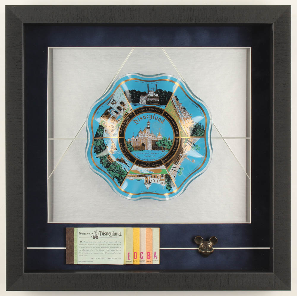 Disneyland 15.5x15.5x2.5 Custom Framed Vintage Souvenir Bowl Shadowbox Display with Ticket Booklet & Pin at PristineAuction.com