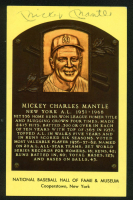 Mickey Mantle Signed 3.5x5.5 Hall of Fame Plaque Postcard (Beckett LOA) at PristineAuction.com