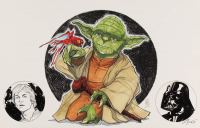"Tom Hodges - Yoda - ""Star Wars"" - Signed 11"" x 17"" Print with ORIGINAL Hand-Embellished Luke Skywalker & Darth Vader Remarques (1/1) at PristineAuction.com"