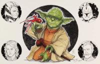 "Tom Hodges - Yoda - ""Star Wars"" - Signed 11"" x 17"" Print with ORIGINAL Hand-Embellished Ahsoka Tano, Captain Rex, Anakin Skywalker, & Obi-Wan Kenobi Remarques (1/1) at PristineAuction.com"