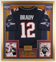 Tom Brady Patriots 32x36 Custom Framed Jersey Display with (3) Super Bowl Pins at PristineAuction.com