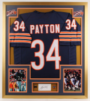 Walter Payton Signed Bears 32x36 Custom Framed Cut Display with (2) Payton Pins (PSA) at PristineAuction.com