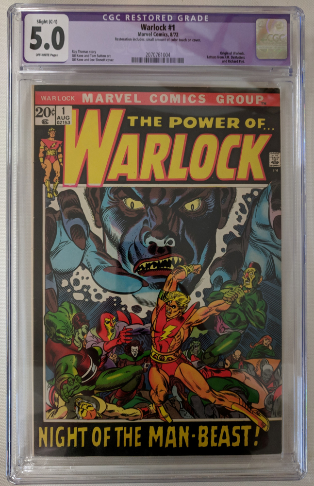 """1972 """"Warlock"""" Issue #1 Marvel Comic Book (CGC Restored 5.0) at PristineAuction.com"""