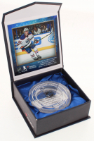 Connor McDavid Edmonton Oilers NHL Debut Crystal Hockey Puck - Filled with Ice from NHL Debut (Fanatics COA) at PristineAuction.com