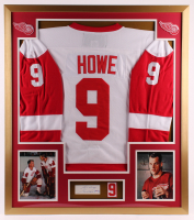 "Gordie Howe Signed Red Wings 32x36 Custom Framed Cut Display Inscribed ""Best Always"" with Red Wings Patch (PSA COA) at PristineAuction.com"