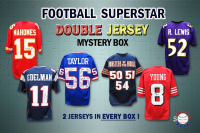Schwartz Sports - DOUBLE Football Jersey Signed Football Superstar Mystery Box - Series 1 - (Limited to 100) (2 Autographed Football Jerseys In Every Box!!) at PristineAuction.com