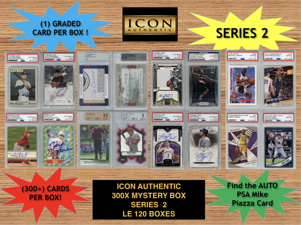 Icon Authentic 300x Series 2 Mystery Box (300+ Cards per Box) at PristineAuction.com