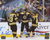 Brad Marchand, Patrice Bergeron, & David Pastrnak Signed Bruins 8x10 Photo (Marchand, Bergeron & Pastrnak COA) at PristineAuction.com