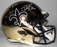 Drew Brees & Michael Thomas Signed Saints Full-Size Chrome Speed Helmet (Beckett Hologram & JSA COA) at PristineAuction.com