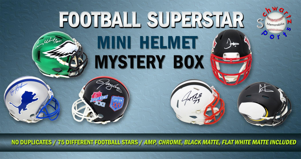 Schwartz Sports Football Superstar Signed Mini Helmet Mystery Box - Series 3 (Limited to 75)(NO DUPLICATES – 75 Different Players!!) at PristineAuction.com