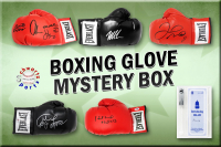 Schwartz Sports Boxing Superstar Signed Mystery Boxing Glove - Series 5 (Limited to 100) **MUHAMMAD ALI Autograph – Grand Prize** at PristineAuction.com