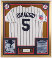 Joe DiMaggio Signed 32x36 Custom Framed Cut Display with (2) 1941 & 1943 World Series Champions Pins (PSA) at PristineAuction.com