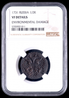1731 Russian 1/2K Half-Kopek Copper Coin (NGC VF Details) at PristineAuction.com