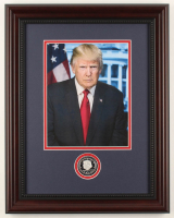 Donald Trump 15x19 Custom Framed Photo Display with 2017 Presidential Commemorative Coin at PristineAuction.com