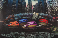 """Kevin Eastman Signed """"Teenage Mutant Ninja Turtles"""" 24x36 Vinyl Movie Poster with (4) Hand-Drawn Sketches (JSA COA) at PristineAuction.com"""
