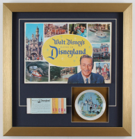 "Walt Disney's ""Disneyland"" 17x17.5 Custom Framed 1959 Original Guide Display with Vintage Ticket Booklet & Disneyland Plate at PristineAuction.com"